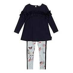 Baker by Ted Baker - Girls' navy frill top and leggings set