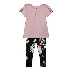 Baker by Ted Baker - Girls' lilac top and black floral print leggings set