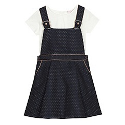 Baker by Ted Baker - Girls' white top and navy spotted pinafore set