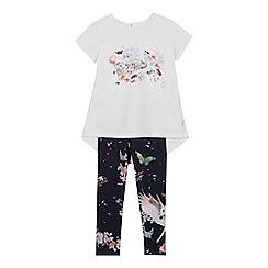 30a323773 Baker by Ted Baker - Girls  light blue swan print top and leggings set