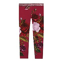 Baker by Ted Baker - Girls' Wine Rose Print Leggings