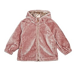 Baker by Ted Baker - Girls' Light Pink Faux Fur Zip Through Hoodie