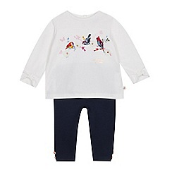 Baker by Ted Baker - Baby Girls' Off White Pleated Back Top and Leggings Set
