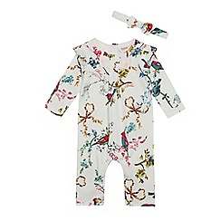 a06158c9432a Baker by Ted Baker - Baby Girls  Off White Bird Print Romper Suit and  Headband