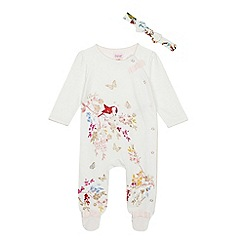 Baker by Ted Baker - Baby Girls' Off white Bird Print Sleepsuit and Headband