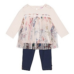 Baker by Ted Baker - Baby Girls' Light Pink Mesh Top and Leggings Set