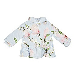 Baker by Ted Baker - Baby Girls' Blue Floral Print Shower Resistant Coat