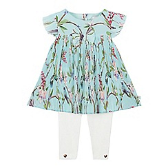 Baker by Ted Baker - Baby Girls' Light Green Floral Print Plisse Top and Leggings Set