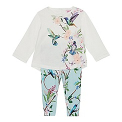 Baker by Ted Baker - Baby Girls' Off White Bird Print Top and Leggings Set