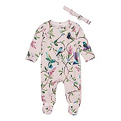 Baker by Ted Baker - Baby Girls' Light Pink Bird Print Sleepsuit and Headband