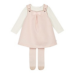 Baker by Ted Baker - Baby Girls' Light Pink Spotted Pinny, Top and Tights Set