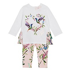 Baker by Ted Baker - Baby Girls' Light Pink Bird Print Top and Leggings Set