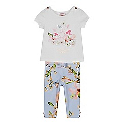 Baker by Ted Baker - Baby Girls' Light Blue Bunny Print Top and Leggings Set