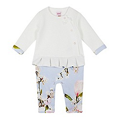 Baker by Ted Baker - Baby Girls' Light Blue Quilted Floral Print Romper