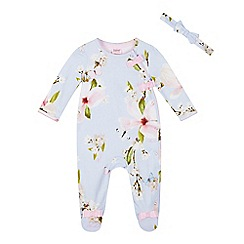 Baker by Ted Baker - Baby Girls' Light Blue Floral Print Cotton Sleepsuit and Headband Set