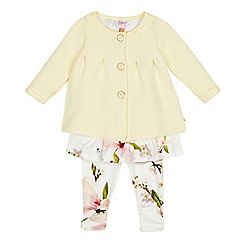 Baker by Ted Baker - Baby Girls' Light Yellow Quilted Cardigan, Top and Leggings Set