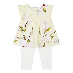 Baker by Ted Baker - Baby Girls' Light Yellow Floral Print Tunic and Leggings Set