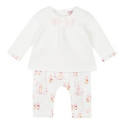 Baker by Ted Baker - Baby Girls' White Quilted Top and Bunny Print Leggings Set