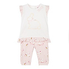Baker by Ted Baker - Baby Girls' Pink Bunny Print Top and Leggings Set