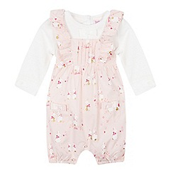 Baker by Ted Baker - Baby Girls' Light Pink Bunny Print Romper and Top Set