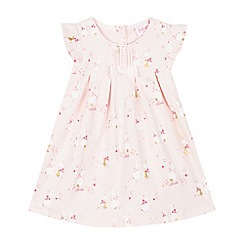 Baker by Ted Baker - Baby Girls' Light Pink Bunny Print Cotton Dress