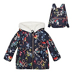 Baker by Ted Baker - Girls' Navy Bird Print Coat and Backpack