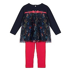 Baker by Ted Baker - Girls' Navy Floral Print Mesh Top and Leggings Set