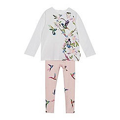 Baker by Ted Baker - Girls' Off White Floral Top and Leggings Set