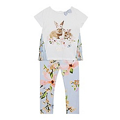 Baker by Ted Baker - Girls' Light Blue Bunny Print Top and Leggings Set
