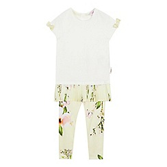 Baker by Ted Baker - Girls' Light Yellow Floral Print Top and Leggings Set