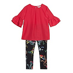 Baker by Ted Baker - Girls' Red Frilled Sleeve Top and Bird Print Leggings Set