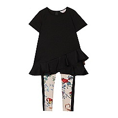 Baker by Ted Baker - Girls' Black Frilled Hem Top and Bird Print Leggings Set
