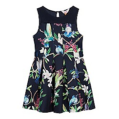 Baker by Ted Baker - Baby Girls' Navy Floral Bird Print Dress