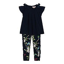Baker by Ted Baker - Girls' Navy Frilled Hem Top and Bird Print Leggings Set