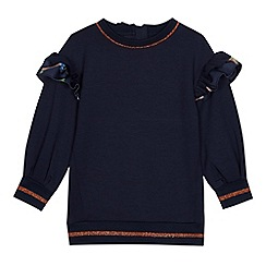 Baker by Ted Baker - Girls' Navy Ruffle Trim Top