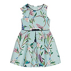 Baker by Ted Baker - Girls' Light Green Floral Bird Print Prom Dress