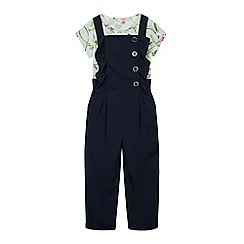 Baker by Ted Baker - Girls' Navy Dungarees and Top Set
