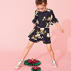 Baker by Ted Baker - Girls' Navy Floral Playsuit