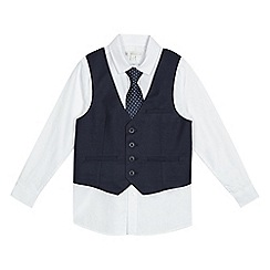 RJR.John Rocha - Boys' navy and white birdseye waistcoat, shirt and tie set