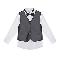 RJR.John Rocha - Boys' silver diamond waistcoat, bow tie and shirt set
