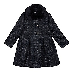 RJR.John Rocha - Girls' navy faux fur collar coat