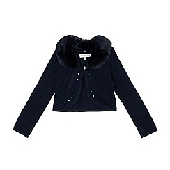 RJR.John Rocha - Girls' navy faux fur collar cardigan