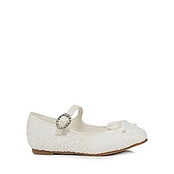 RJR.John Rocha - Girls' ivory lace diamante buckle shoes