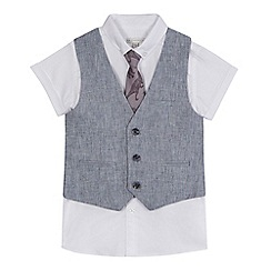 RJR.John Rocha - 'Boys' white short sleeve shirt, navy linen blend waistcoat and tie set