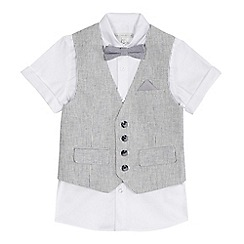 RJR.John Rocha - 'Boys' white short sleeve shirt, grey striped linen blend waistcoat and bow tie set