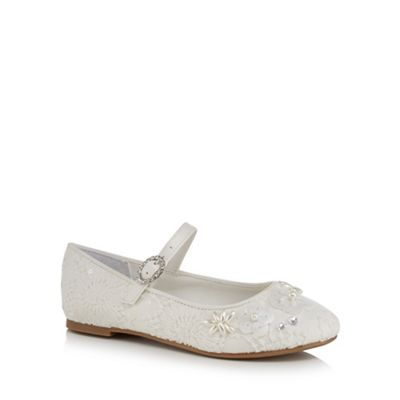 RJR.John Rocha - Girls' ivory lace bead embellished pumps