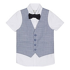 RJR.John Rocha - 'Boys' white shirt, navy checked waistcoat and bow tie set