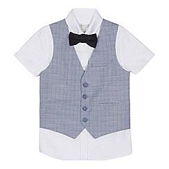 RJR.John Rocha - 'Boys' white shirt, navy checked waistcoat and bow tie set