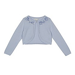 RJR.John Rocha - Girls' light blue flower embellished cardigan