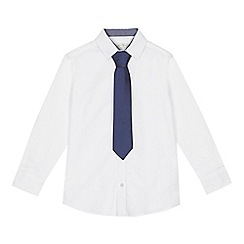 RJR.John Rocha - 'Boys' white long sleeve Oxford shirt and navy tie set